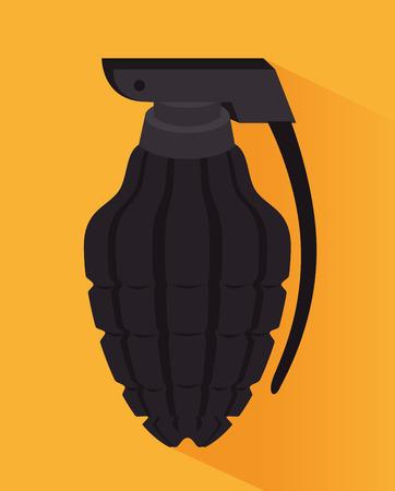 grenade: Grenade design over yellow background, vector illustration. Illustration