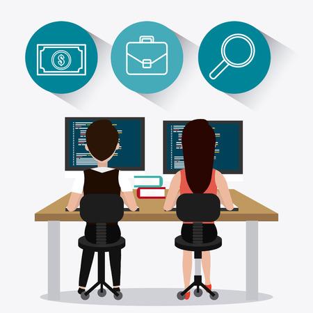 desk job: Coworking digital design, vector illustration eps 10