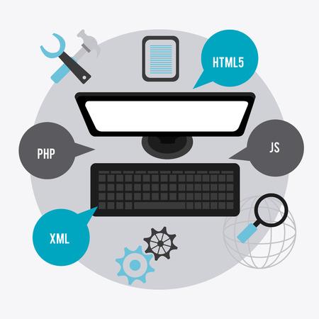 js: Software digital design, vector illustration eps 10 Illustration