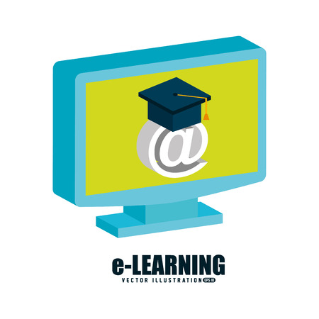 arroba: e-learning concept design, vector illustration eps10 graphic