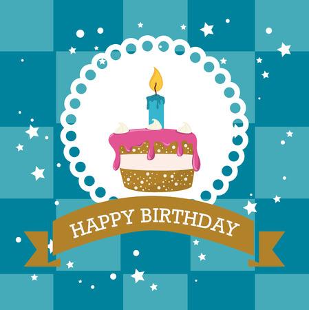 birthday cakes: Happy birthday colorful card design, vector illustration.