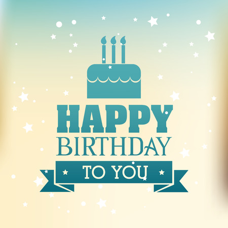 gateau anniversaire: Joyeux anniversaire conception de carte coloré, illustration vectorielle.