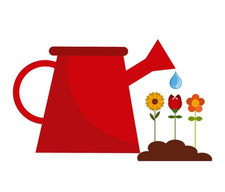 garden design: disegno del giardino dei fiori, illustrazione grafica vettoriale Vettoriali