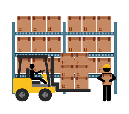 warehouse worker: delivery service design, vector illustration graphic