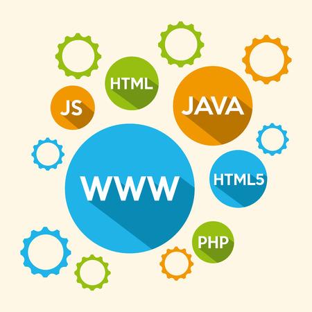 js: programming language design, vector illustratio