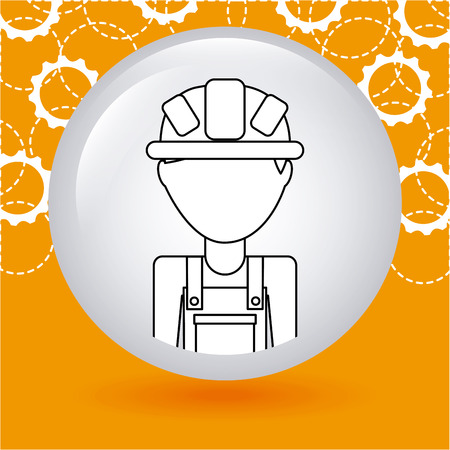 setup man: construction concept design, vector illustration