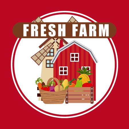 farm fresh: podere design fresco, illustrazione vettoriale