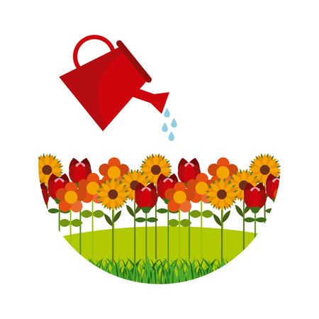 tuinontwerp: bloementuin ontwerp, vectorillustratie eps10 grafische Stock Illustratie