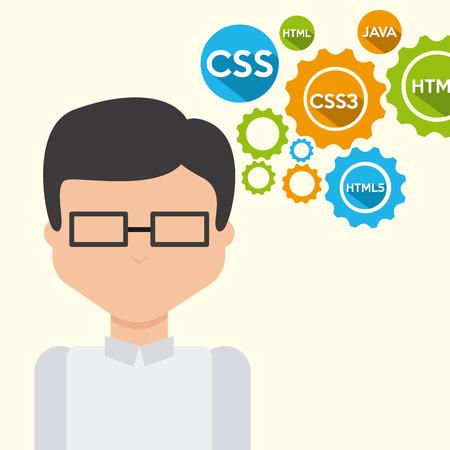 people development: programming language design, vector illustration  Illustration