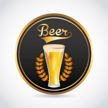 gold leafs: cold beer design, vector illustration