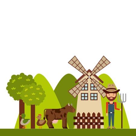 mamal: farm concept design, vector illustration