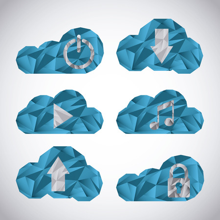 cloud security: cloud security design, vector illustration