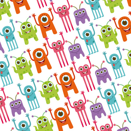 alien cool: cute monster design, vector illustration