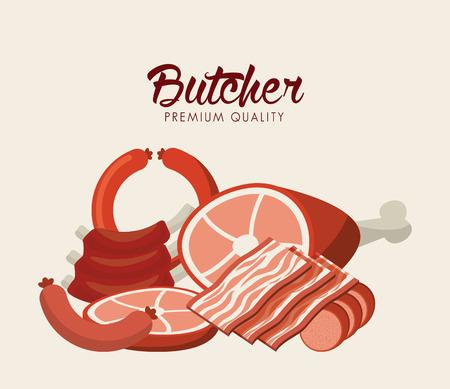 carne asada: diseño de concepto carnicero, ilustración vectorial
