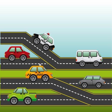 고속도로: road highway design, vector illustration  일러스트