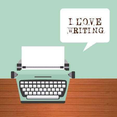 typewriter: retro device design, vector illustration