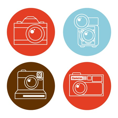 old technology: photographic icon design, vector illustration