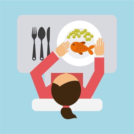 男のデザインを食べて、ベクトル イラスト