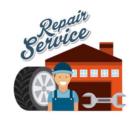 setup man: repair service design, vector illustration