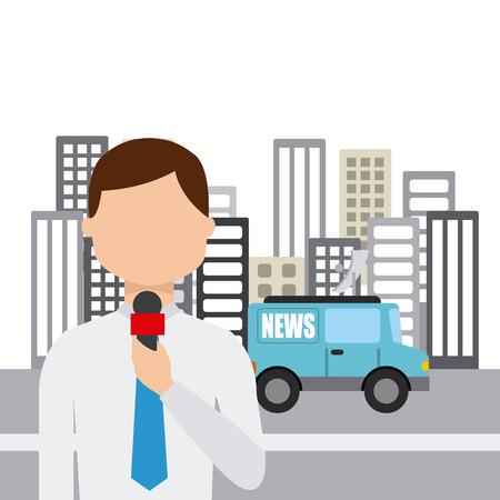 news van: news concept design, vector illustration