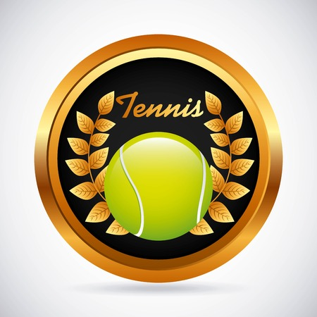 gold leafs: tennis emblem design, vector illustration   Illustration