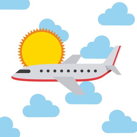 avion caricatura: dise�o de las vacaciones de viaje, ilustraci�n vectorial