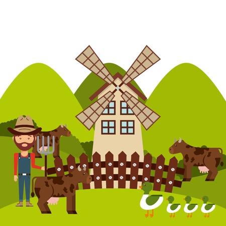 mamal: farm concept design, vector illustration  Illustration