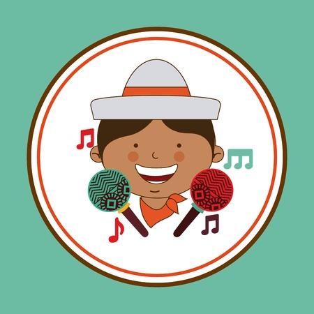 colombian: colombian kid design, vector illustration
