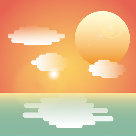 horizon reflection: sea landscape design, vector illustration Illustration