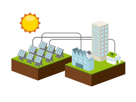 paneles solares: diseño de la energía solar, ilustración vectorial