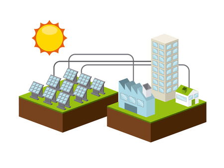 panels: solar energy design, vector illustration