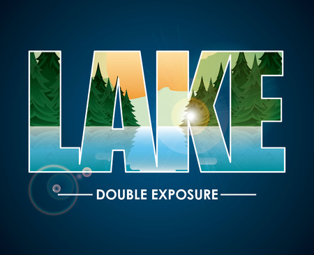 exposure: double exposure design, vector illustration  Illustration