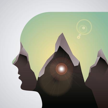 double exposure design, vector illustration  Illustration