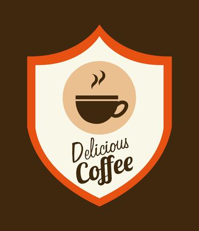 shiled: delicious coffee design, vector illustration
