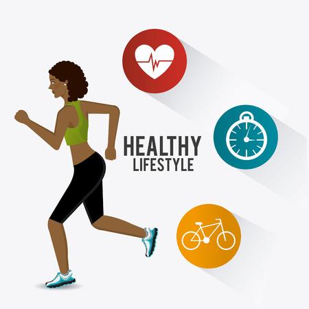 mujer deportista: El estilo de vida de diseño de fitness, ilustración vectorial eps 10.