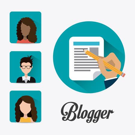connect people: Blogger digital design, vector illustration eps 10.
