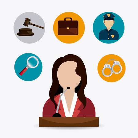 handcuffs woman: Law and order design, vector illustration eps 10. Illustration
