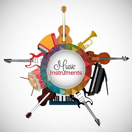 Diseño de instrumentos de música, ilustración vectorial eps 10. Foto de archivo - 41885110