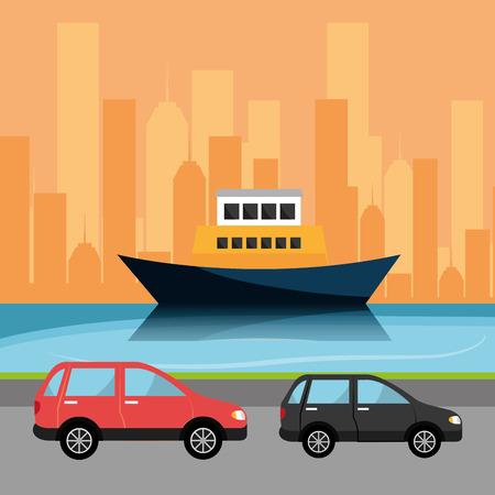 freighter: Urban digital design, vector illustration eps 10.