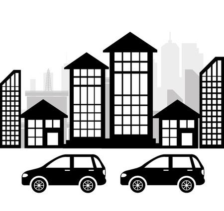silhouete: City design over white background vector illustration