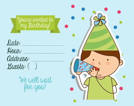 Diseño de la invitación de cumpleaños, ilustración vectorial gráfico eps10 Foto de archivo - 41938522