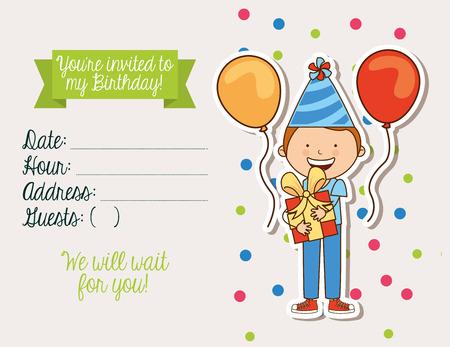 Diseño de la invitación de cumpleaños, ilustración vectorial gráfico eps10 Foto de archivo - 41938890