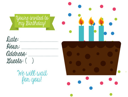 gateau anniversaire: conception d'invitation d'anniversaire, illustration graphique eps10 Illustration
