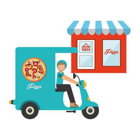 pizza place: pizza delivery design, vector illustration eps10 graphic