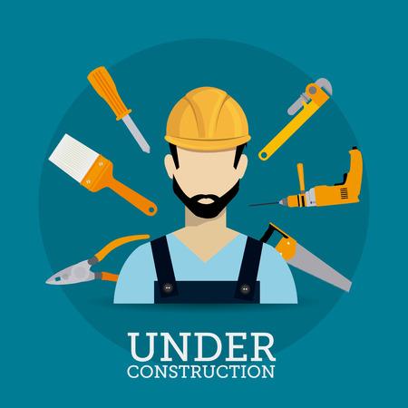 warning saw: Construction digital design, vector illustration eps 10. Illustration