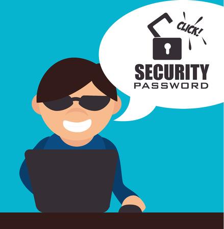 spyware: Dise�o digital de seguridad, ilustraci�n vectorial.