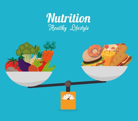 balanza: Diseño de la Alimentación, ilustración vectorial eps 10. Vectores