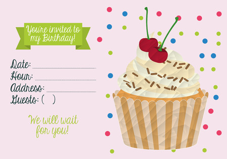 Diseño de la invitación de cumpleaños, ilustración vectorial gráfico eps10 Foto de archivo - 42060229