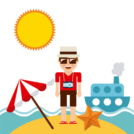 sun beach: summer vacations design, vector illustration eps10 graphic