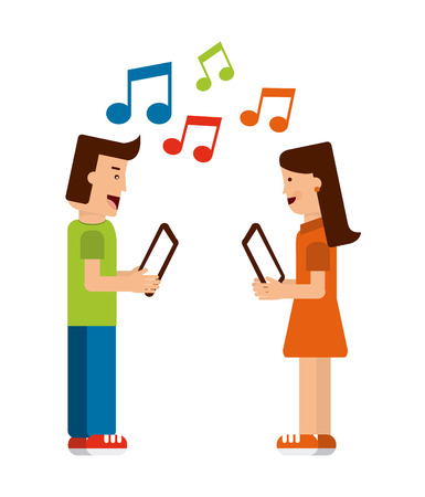 letras musicales: diseño de la tecnología, ejemplo gráfico del vector Vectores